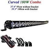 180W Combo 37.4' 39.3 inch 3D Super Slim Single Row Curved Led Light Bar Cree 5W Led Driving Working Offroad Light for SUV ATV Jeep 4WD UTV Truck Pickup 4x4 Vehicle 12V 24V Automotive Wire Harness
