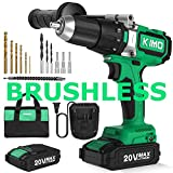 Brushless Cordless Drill Driver Set w/ 2 Lithium-Ion Batteries, 20 V Hammer Impact Drill Kit w/ 660 In-lb Torque, Variable Speed, 1/2' Keyless Chuck, Built-in LED, Reverse/forward 12 Bits Fast Charger
