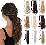 XBwig Ponytail Hair Extension 18' 23' Clip In Straight Curly Hairpiece Synthetic Wrap Around Hair Piece For Women 90G (18'-Curly, 24/613 Ash blonde mix bleach blonde)