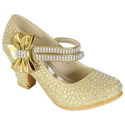 aaaeef622d5 MyShoeStore Girls Wedding Shoes Kids Children Bridesmaid Prom Diamante  Strappy Mary Jane Style Court Shoe Block Low Mid Heel Touch Fastening Party  ...