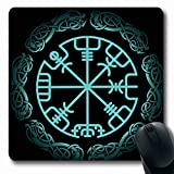 Ahawoso Mousepads Esoteric Celtic Vegvisir Magic Navigation Compass Ancient Icelandic Pagan Viking Vintage Amulet Oblong Shape 7.9 x 9.5 Inches Non-Slip Gaming Mouse Pad Rubber Oblong Mat