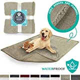 PetAmi Waterproof Dog Blanket for Couch, Sofa   Waterproof Sherpa Pet Blanket for Large Dogs, Puppies   Super Soft Washable Microfiber Fleece   Reversible Design   50 x 40 (Taupe/Taupe)