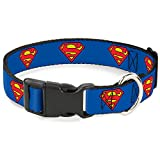 "Buckle-Down Plastic Clip Collar - Superman Shield Blue - 1"" Wide - Fits 11-17"" Neck - Medium"