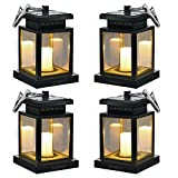 Hanging Solar Lights - Sunklly Waterproof LED Outdoor Candle Lantern Decorated in Garden Patio Deck (Yellow Light, Pack of 4)