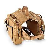 DoggyDobby Dog Hiking Saddle Bag 16oz Canvas Adjustable Straps Camping Backpacks for Medium & Large Dogs