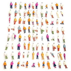 Fautly 100 pcs/set Standing Pose Mini Painted Model People Figures, HO Scale Model Train Park Street Passenger People Toys Dollhouse Miniature Accessories 1/100 51og72qhxdL