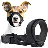 Gentle Muzzle Guard for Dogs - Prevents Biting and Unwanted Chewing Safely Secure Comfort Fit - Soft Neoprene Padding - No More Chafing - Training Guide Helps Build Bonds with Pet (M, Grey)