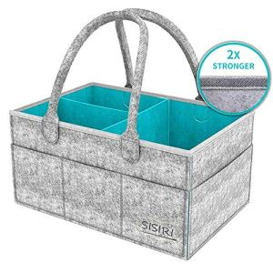Werded Baby Diaper Caddy Organizer, Portable Large Diaper Caddy Tote with Changeable Compartments, Foldable Portable Car Travel Organizer for Changing Nappy, Wipes, Newborn Shower Gift 51ohpefsjXL