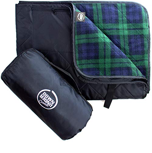 DOWN UNDER OUTDOORS Premium Large Waterproof, Windproof, Quilted Fleece Stadium Blanket, Machine Washable, Camping, Picnic & Outdoor, Beach, Dog, 82 x 55 inches (Black/Green Check), Folding