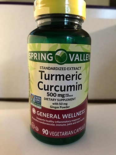 Spring Valley Turmeric Curcumin 500mg with 50mg Ginger Powder Twin Pack 180 Vegetarian Capsules