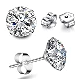 SWOPAN 925 Sterling Silver Cubic Zirconia Stud Earrings for Men Women White Gold Plated 4 Claws Princess Cut Simulated Diamond CZ Crystal Studs Ear Piercing Earrings, Round 4 Claws Stud, 8MM