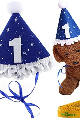 Blue Pet Dog Cat Birthday Holiday Party Hat Headwear Costume Accessory With A White Ball And Lace For Small Medium Dogs Cats Pets
