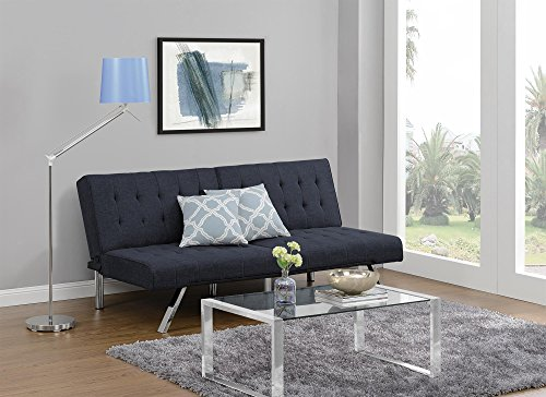 Awesome Dhp Emily Futon Couch Bed Modern Sofa Design Includes Sturdy Chrome Legs And Rich Linen Upholstery Navy Dustin A Purtan Inzonedesignstudio Interior Chair Design Inzonedesignstudiocom
