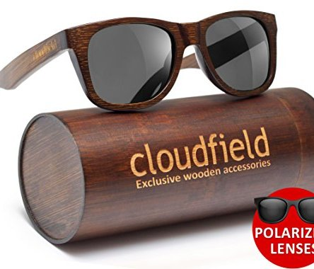 Wood Sunglasses Polarized for Men and Women by CLOUDFIELD – Wooden Wayfarer Style – 100% UV 400 Protection – Premium