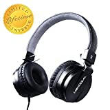 Active Noise Cancelling Headphones for Kids, Monodeal Kid's Headset on Ear, Wired Stereo Headset with MIC/Carrying Bag, Deep Bass FoldableTravel Earphone, 20 Hours Playtime - Black