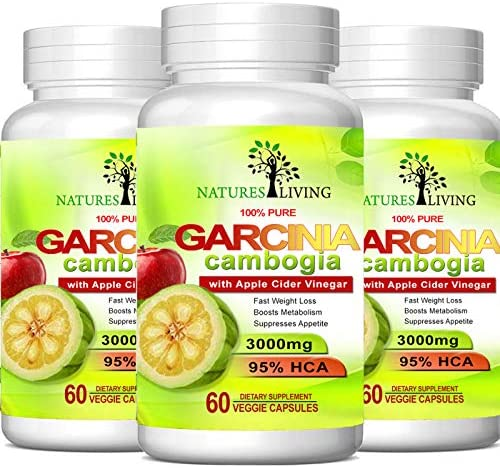 Pure Garcinia Cambogia Extract & Apple Cider Vinegar- 3000mg Capsules - All Natural Weight Loss, Detox, Digestion & Circulation Support - Best Weight Loss Supplement & Carb Blocker (3 Pack)… 1