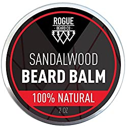 BEARD BALM SANDALWOOD by Rogue Beard Company, Leave In Conditioner with Natural Oils for Mustache Grooming and Beard Growing for Men 2 oz  Image