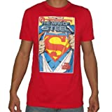 Dc Comics Mens Superman the Man of Steel Superhero T-Shirt / Tee Large Red