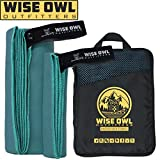 Wise Owl Outfitters Camping Towel - Ultra Soft Compact Quick Dry Microfiber Best Fitness Beach Hiking Yoga Travel Sports Backpacking & The Gym Fast Drying, Free Bonus Washcloth Hand Towel - XL MBlue