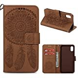 Wallet Flip Campanula Embossed Case Compatible with iPhone XR iPhone 9 【6.1 Inch】, Wrist Strap & Card Slots [Kickstand Feature] PU Leather Wallet Purse Credit Card ID Holders Flip Pouch Cover (Brown)