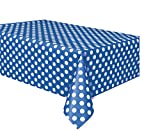 Royal Blue Polka Dot Plastic Tablecloth, 108' x 54'