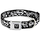 "Buckle-Down Seatbelt Buckle Dog Collar - Superman Shield Splatter Black/White - 1"" Wide - Fits 9-15"" Neck - Small"