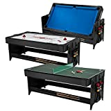 Fat Cat Pockey 7ft Black 3-in-1 Air Hockey, Billiards, and Table Tennis Table