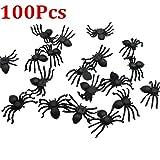 Hot Sale!DEESEE(TM)20/50/100/200PC Halloween Mini Plastic Black Luminous Spider Prank Joking Birthday Toys DIY Decorative Spiders 2cm Spider Party Props (C:100PC)