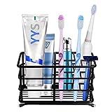 HYRIXDIRECT Toothbrush Holder Black Plating Stainless Steel Rustproof Bathroom Electric Toothbrush Holder Toothpaste Storage Organizer Multi-Functional 6 Slots Stand for Vanity,Countertops (Black-02)