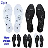 Foot Acupressure Magnetic Massaging Insoles - Massage Insoles Reflexology Plantar Fasciitis Pain Relief Breathable Deodorant Comfort Bamboo Charcoal Silicone Insoles for Men and Women