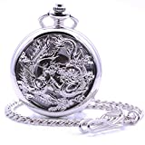 Product review of Antique Silver Dragon and Phoenix Hand-Wind Mechanical Pocket Watch, Mens Womens Pocket Watch with Chain + Box