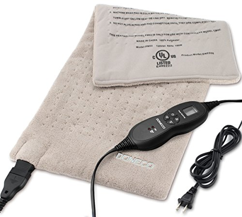 DONECO King Size XpressHeat Heating Pad (12 x 24') - Heat Therapy Helps Reduce Muscle Cramps and Soreness - Features 6 Temperature Settings and Adjustable LCD Controller - Machine Washable Microplush