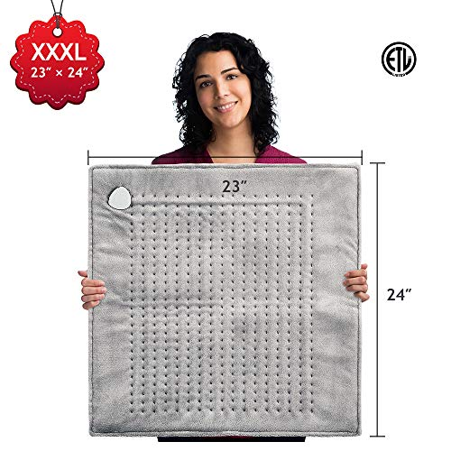 XXXL Heating Pad Large Electric, 23' x 24' King Size Fast Heating Technology for Cramp, Neck and Shoulders, Back, Abdomen, Legs, Auto Shut Off, Safe for Pets, Moist/Dry, Machine Washable – Gray