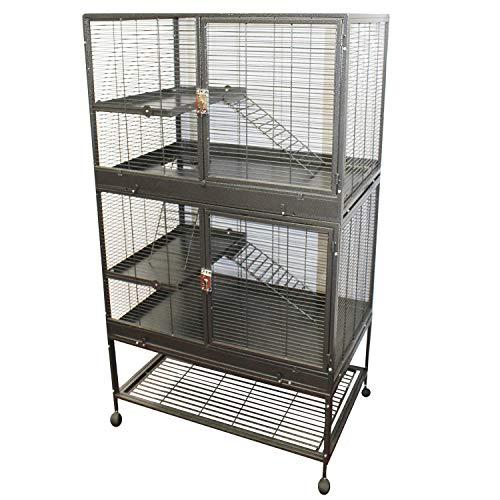 Exotic Nutrition New! Durable All-Metal Mansion Cage for Chinchillas, Rats, Ferrets, Degus, Prairie Dogs (4-Level)