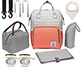 Diaper Bag Set, 8-in-1 Baby Care Backpack for Mom Dad Nappy Bag (Pink/Grey)