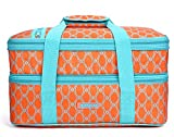 MIER Insulated Double Casserole Carrier Thermal Lunch Tote for Potluck Parties, Picnic, Beach, Fits 9 x 13 Inches Casserole Dish, Expandable, Orange
