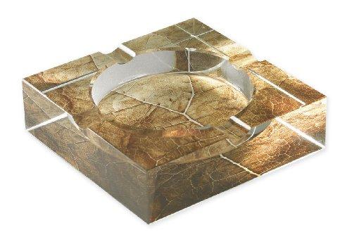 Quality Importers Tobacco Leaf Print Crystal Cigar Ashtray, For 4 Cigars, Custom Gift Box, by
