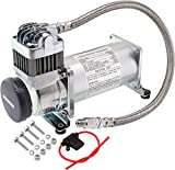 Vixen Horns 200 PSI Heavy Duty Train Horn/Suspension/Air Ride/Bag Air Compressor/Pump with 1/4' Stainless Steel Braided Hose and 1/4' NPT Check Valve 12V Chrome VXC8301