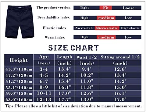 KID1234 Boys Shorts - Flat Front Shorts with Adjustable Waist,Chino Shorts for Boys 5-14 Years,6 Colors to Choose 7