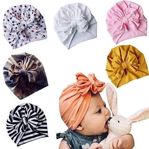 Asufegucd Baby Nylon Big Bow Turban Hats India Beanie Bohemia Donuts Cap Girls Headwear Bun Knot (Multicoloured Multicoloured ASFK635)