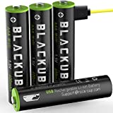 USB Rechargeable AAA Batteries-Li-ion Battery Triple A Lithium Batteries with Micro USB Charging Port (4 Pack)-1.5V/ 600mAh USB AAA Cell (4-Pack AAA)