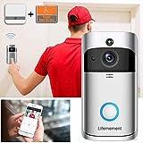 Wireless Doorbell WiFi Smart Video Doorbell 720P HD Smart Security Camera Doorbell With Realtime Push Alerts Watchdog Surveillance System Night Vision (Batteries Not Included)