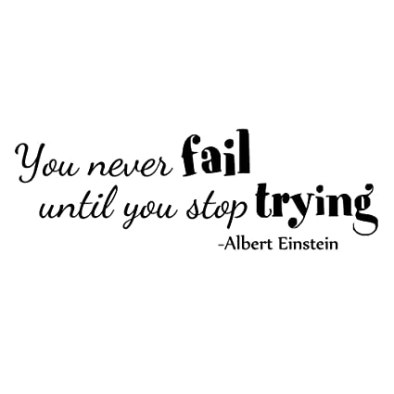ZSSZ You Never Fail Until You Stop Trying by Albert Einstein Inspirational Words Wall Decals Quotes Wall Stickers Positive Wall Words Art Lettering Décor