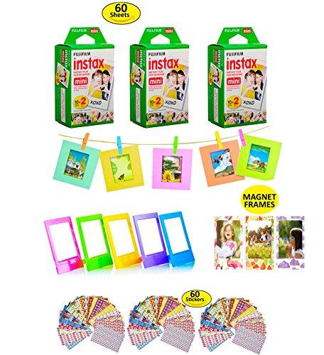 Fujifilm Instax Film 60 Shots for Fuji instax Mini 8 or Mini 9 Twin Pack Fuji Instax Films for Instax Fuji SP-1 or SP-2 Printer + Gift of 60 Decorative Skin Stick-on Fuji Instax Stickers