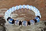 Opalite Opal Moonstone stretch wrist bracelet with copper/brass spacers -Blessed & Energized Karma Nirvana Meditation 8 mm Prayer Beads For Awakening Chakra Kundalini -USA Seller