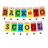 Back to School Banner - Teacher Banner for First Day of School Decorations Welcome Back to School Party Classroom Decorations