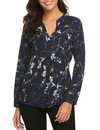 BEAUTEINE-Women-Button-Down-Chiffon-Shirts-Floral-Printed-Henley-V-Neck-Blouses-Cuffed-Sleeve-Tunic-Tops