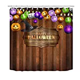 LB Halloween Pumpkin Lantern Shower Curtain Trick or Treat Party Decor Vintage Farmhouse Shower Curtains for Bathroom with Hooks 72x72 inch Waterproof Polyester Fabric