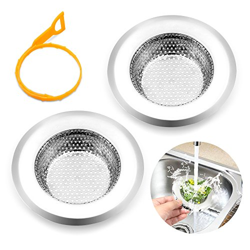 2 Pieces Kitchen Sink Drain Strainers Stainless Steel   Large Wide Rim 4.3\