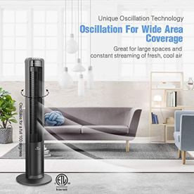Airvention-X01-Oscillating-Tower-Fan-With-Remote-43-Inch-Quiet-Air-Cooler-Space-Saving-Stand-Fans-For-Home-Office-or-Bedroom-Energy-Efficient-Cooling-3-Silent-Speeds-Electric-Control-Black